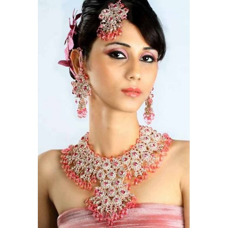 Parure indienne rose bijoux mariage bollywood