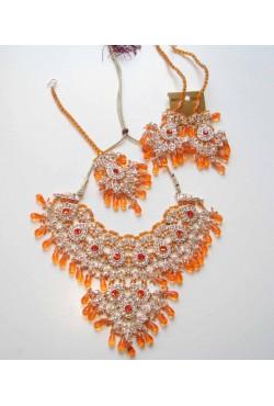 Bijoux indien parure existe en rouge bordeaux, orange et blanc