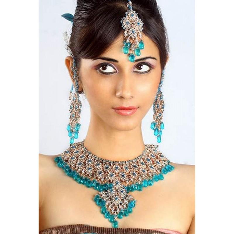 achat parure indienne bleue turquoise bijoux mariage bollywood pas cher pour femme bijoux d 39 inde. Black Bedroom Furniture Sets. Home Design Ideas