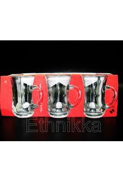 Lot de 6 verres à thé turcs avec poigné