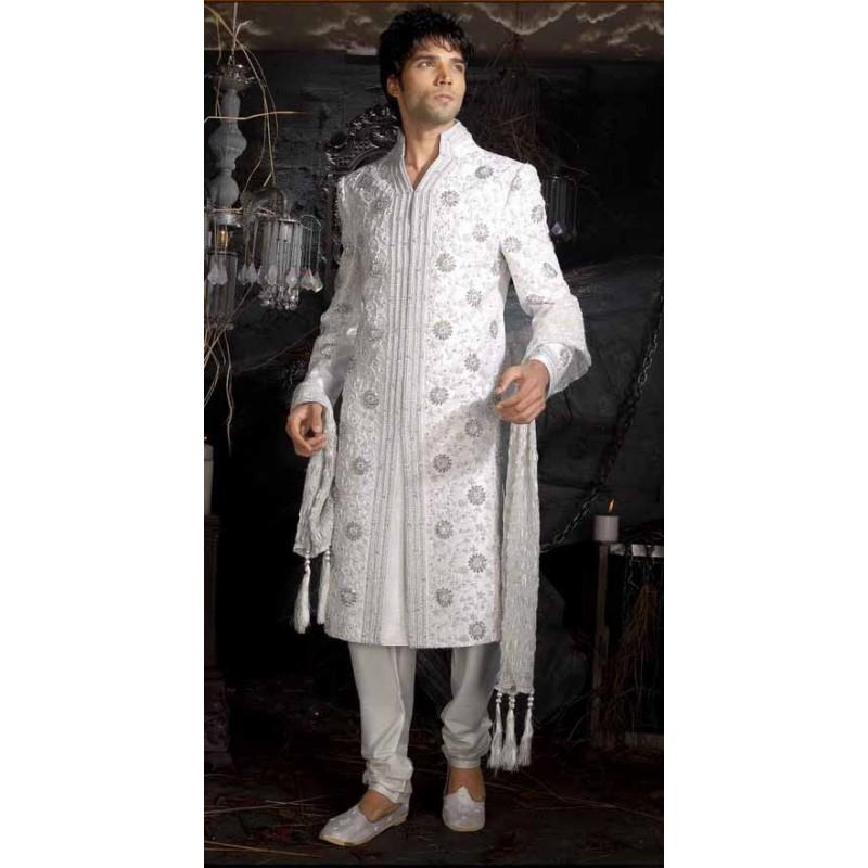 acheter sherwani tenue indienne de mari blanche brod e pour homme. Black Bedroom Furniture Sets. Home Design Ideas