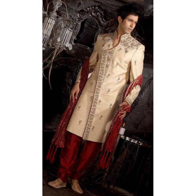 Vente sherwani tunique indienne mariage blanche brod e for Robes de mariage indien pour homme