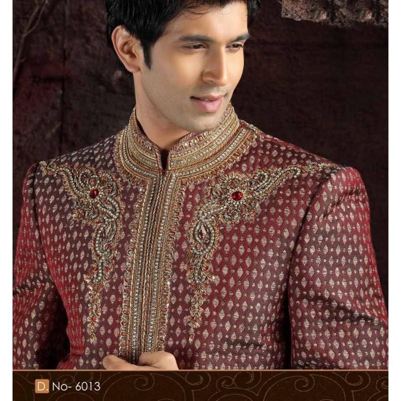sherwani tenue indienne de mari blanche brod e pour homme. Black Bedroom Furniture Sets. Home Design Ideas