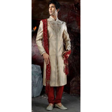 achat tenue indienne mari beige et rouge. Black Bedroom Furniture Sets. Home Design Ideas