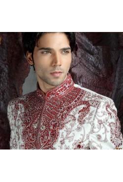 Tenue indienne homme marié rouge et blanc