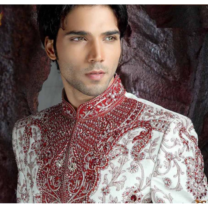acheter tenue indienne homme mari rouge et blanc tenue indienne de mari. Black Bedroom Furniture Sets. Home Design Ideas