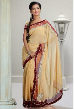 Sari indien rose et beige