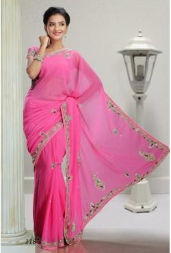 Sari indien bleu et rose