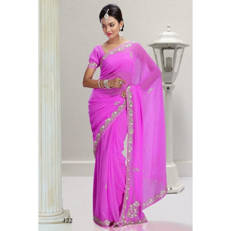 Rose Robe Sari Argent Indienne Acheter Brodé Tc1JlKF3