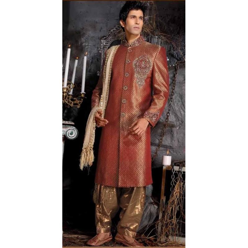 achat tenue indienne de mari marron brod et incrust de pierres tenue indienne de mari. Black Bedroom Furniture Sets. Home Design Ideas