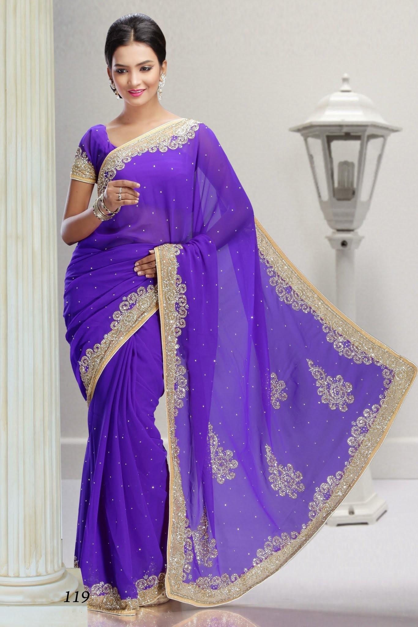 Favori Sari violet perlé et brodé aux motifs orientaux doré - robe indienne GZ16