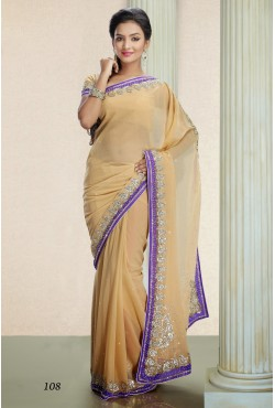 Sari indien violet et doré