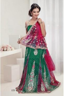 Sari robe indienne vert et rose
