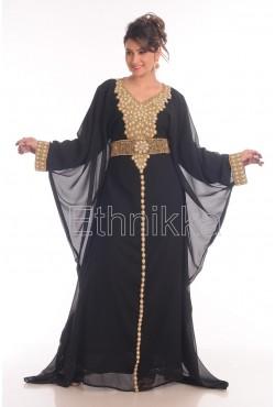 Kaftan robe dubai noir et doré
