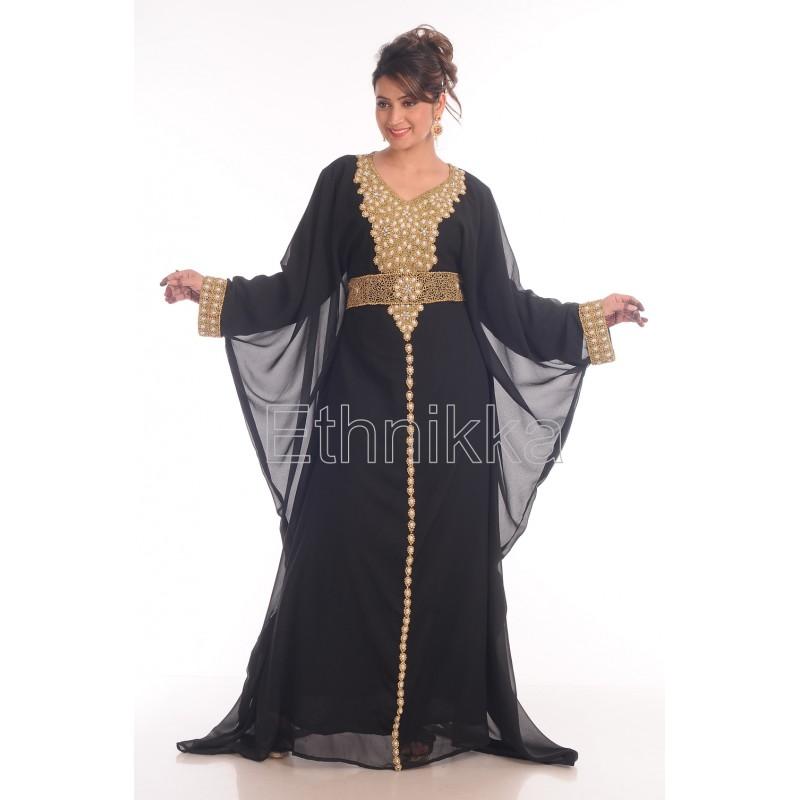 Acheter caftan robe dubaï noir et doré 6ff8643bfd8