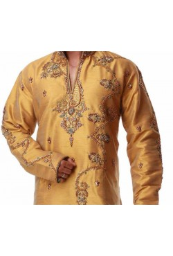 Tenue orientale turquoise dorée brodé homme