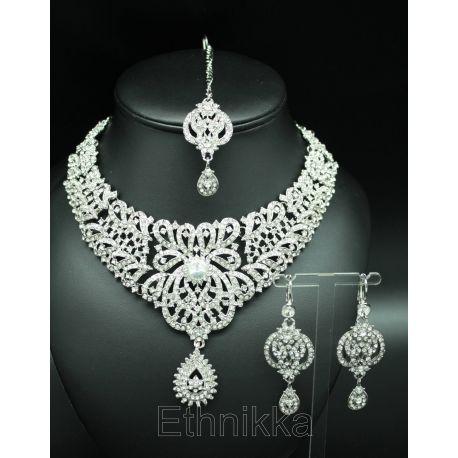 Parure indienne bijoux ethniques plaqué argent à strass blanc
