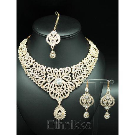 Parure de bijoux indiens plaqués or a strass blanc