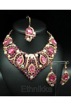 """Parure de bijoux ethniques indiens plaqués or """"Ahalya"""""""