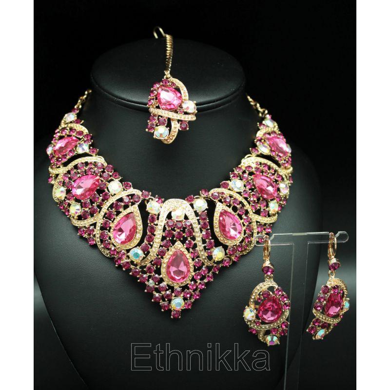 551122209 Parure bijoux ethniques indiens plaqué or et pierres blanches