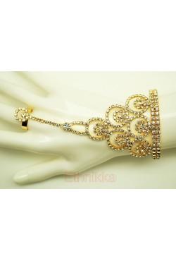 Bijoux ethniques doré parure de main bracelet de bague