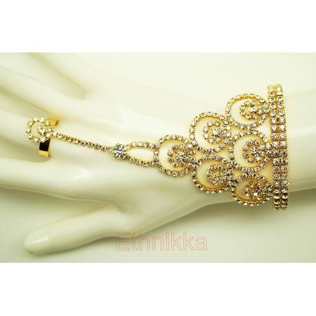 Bijou indien doré parure de main bracelet de bagues 3 doigts
