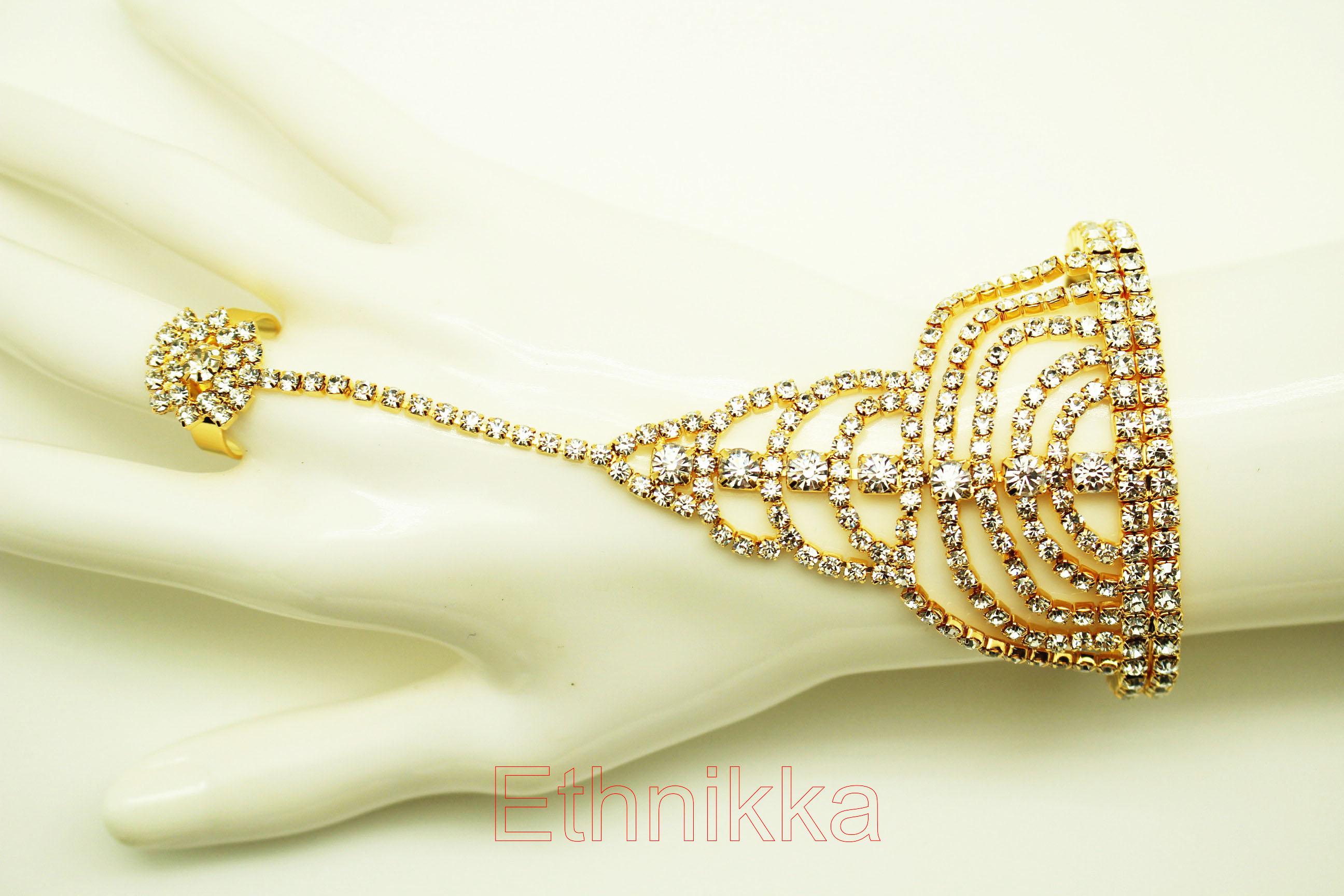 nouveau style et luxe taille 40 une grande variété de modèles Achat Bijoux ethniques indiens plaqué or bracelet bague