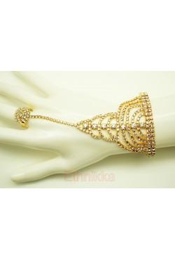 Bijou oriental main bracelet de bague 1 doigt en plaqué or