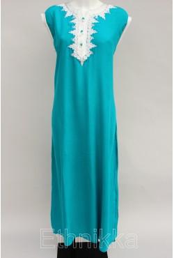 Djellaba femme turquoise sans manche