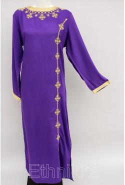Djelaba violette et dorée manche longue