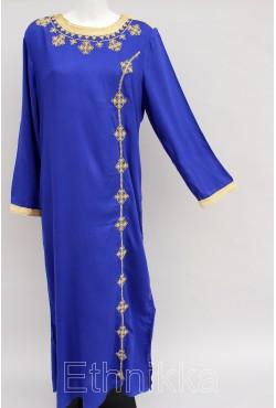Djellaba femme bleue et dorée manche longue