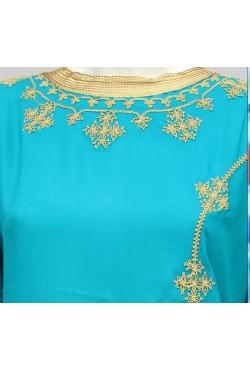 Djellaba femme turquoise et dorée manche longue