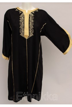 Tunique orientale longue noire et doré