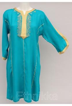 Robe tunique orientale turquoise et doré