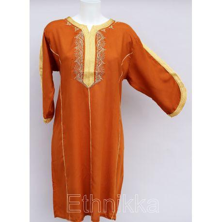 Robe tunique orientale marron et doré