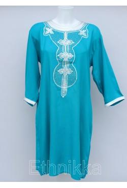 Robe tunique orientale turquoise