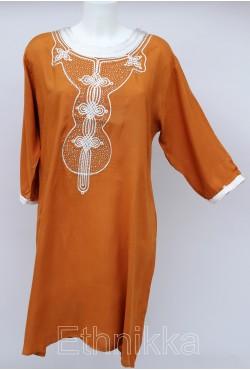 Robe tunique orientale longue marron