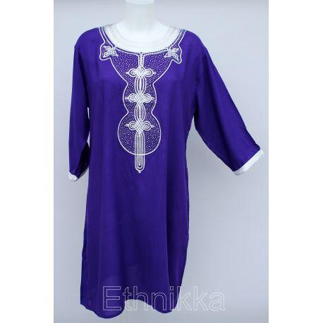 Robe tunique orientale longue violette et doré