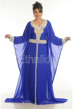 Caftan robe dubai bleue perles