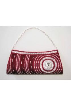 Pochette sac de soirée brodée de perles rouges et swarovski
