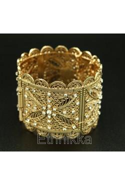 Bracelet oriental strass plaqué or