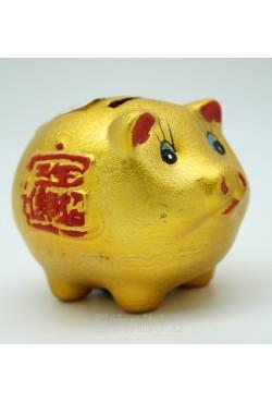 Tirelire cochon doré chinois