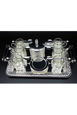 Plateau 6 verres à thé, cuillères, sucrière couleur argent
