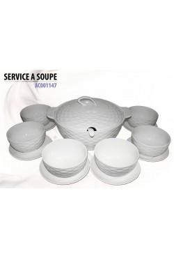 Service à soupe en porcelaine blanche