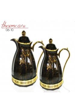 Deux thermos en noir, argenté et doré