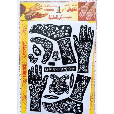 Pochoir tatouage henné main et pied