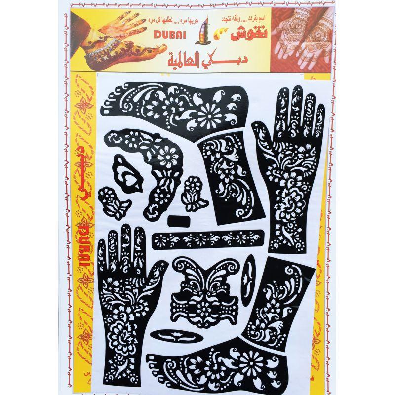 acheter pochoir pour tatouage henn main pied fleurs. Black Bedroom Furniture Sets. Home Design Ideas