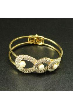 "Bracelet strass en or plaqué sertie de pierres blanche ""Goute"""