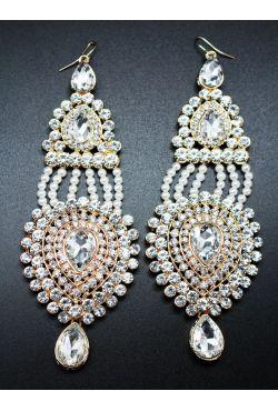 Boucles d'oreilles pendantes avec perle blanche et strass